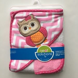 Bath Set Owl Theme Cotton Towel and Washcloth Pink